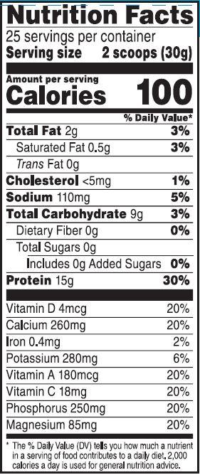 Muscle Milk Nutrition Label